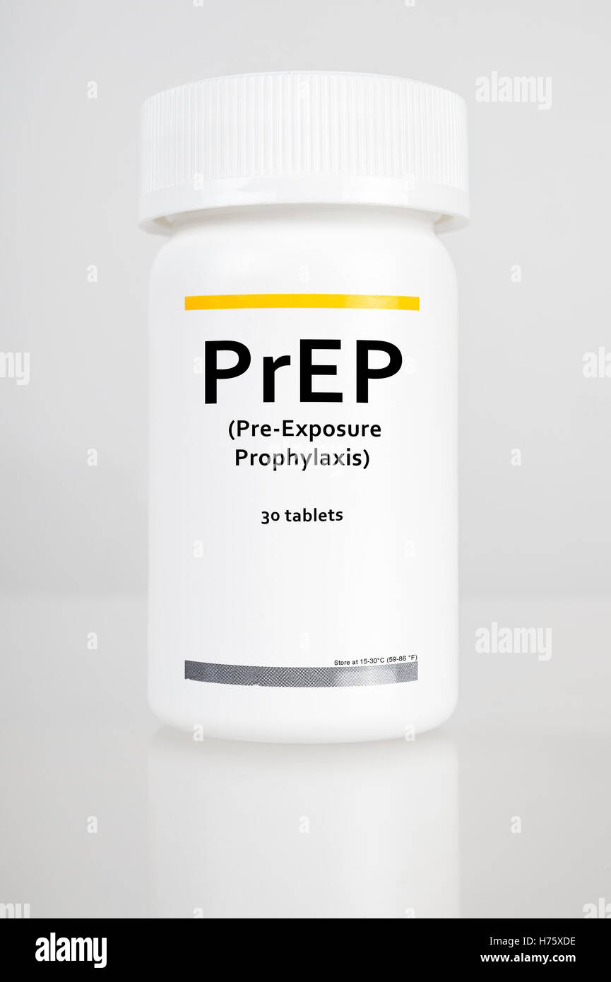 Pill Bottle with label 'PrEP' (stands for Pre-Exposure Prophylaxis). PreP treatment is used to prevent HIV - Stock Image
