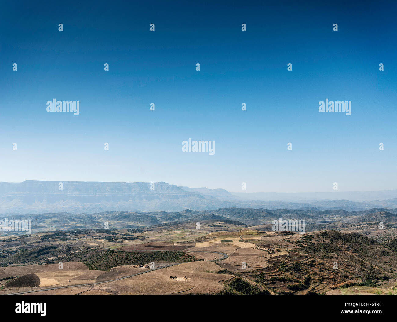 african rural northern ethiopia mountain and countryside lansdcape near lalibela - Stock Image