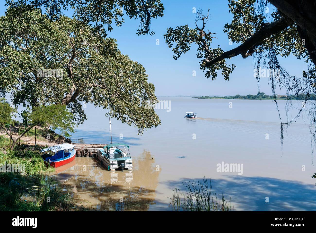 view of boats on famous lake tana near bahir dar ethiopia - Stock Image