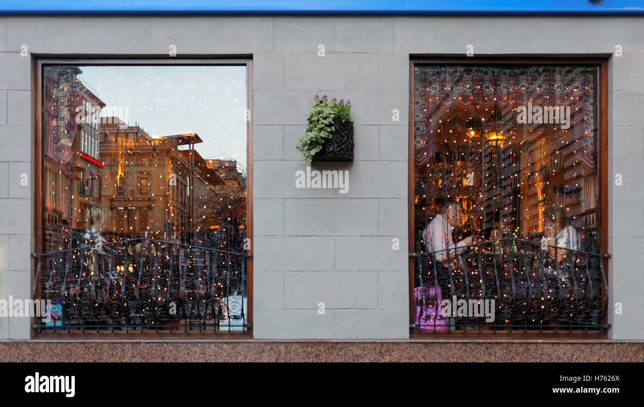 Glasgow Restaurant Windows Lit Up By Christmas Decorations
