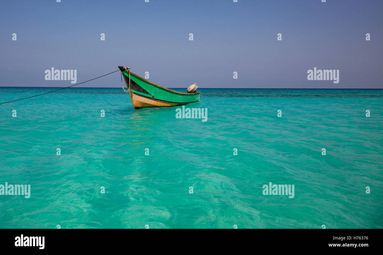 Fisherman boat in a water near island of Socotra - Stock Image