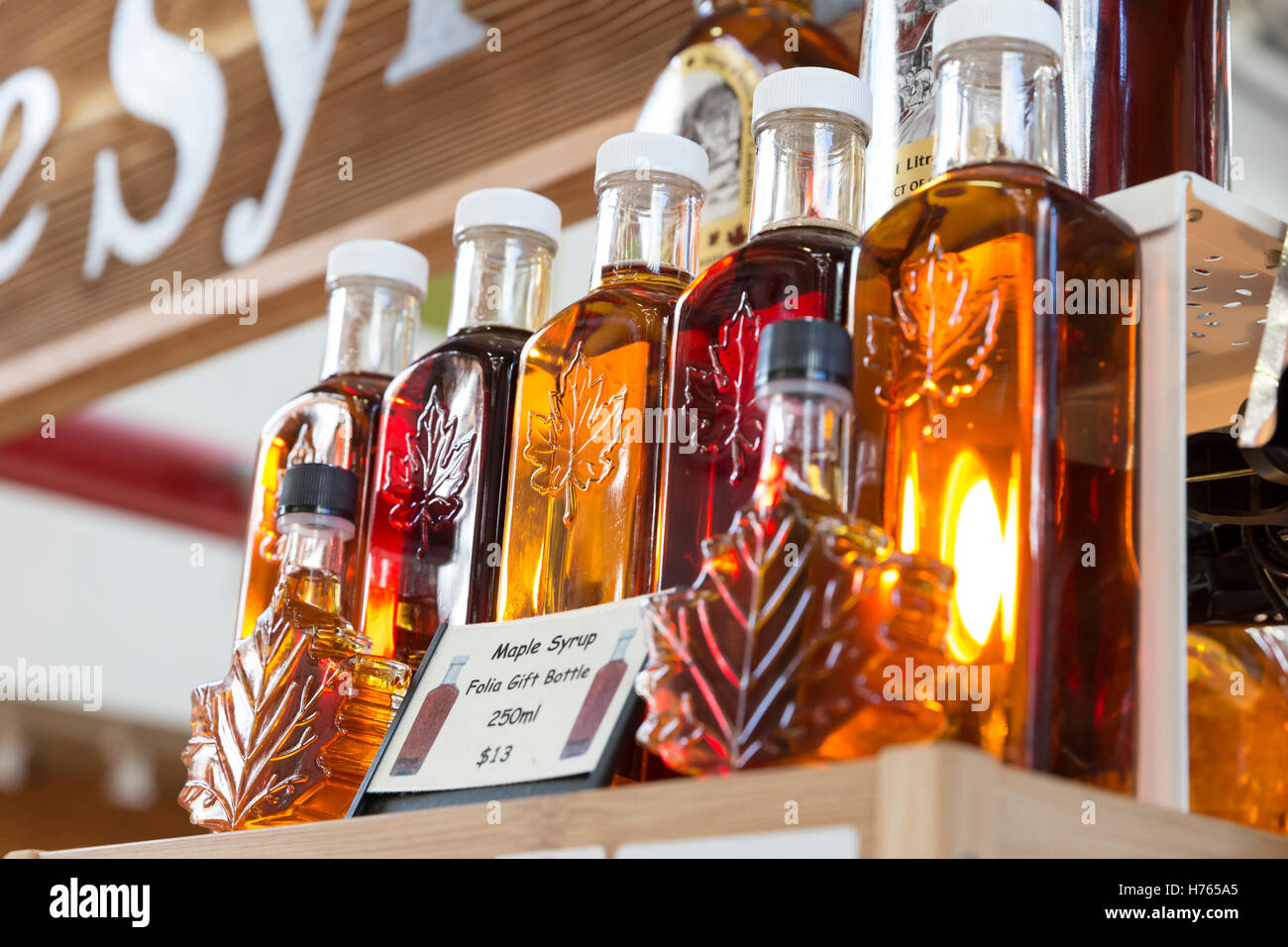 Vancouver, Canada: Varieties of maple syrup for sale at Granville Island Public Market. - Stock Image