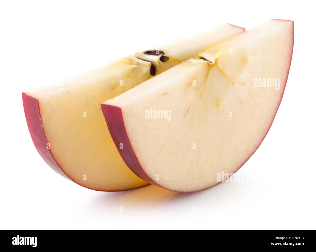 red apple slices isolated on the white background. - Stock Image