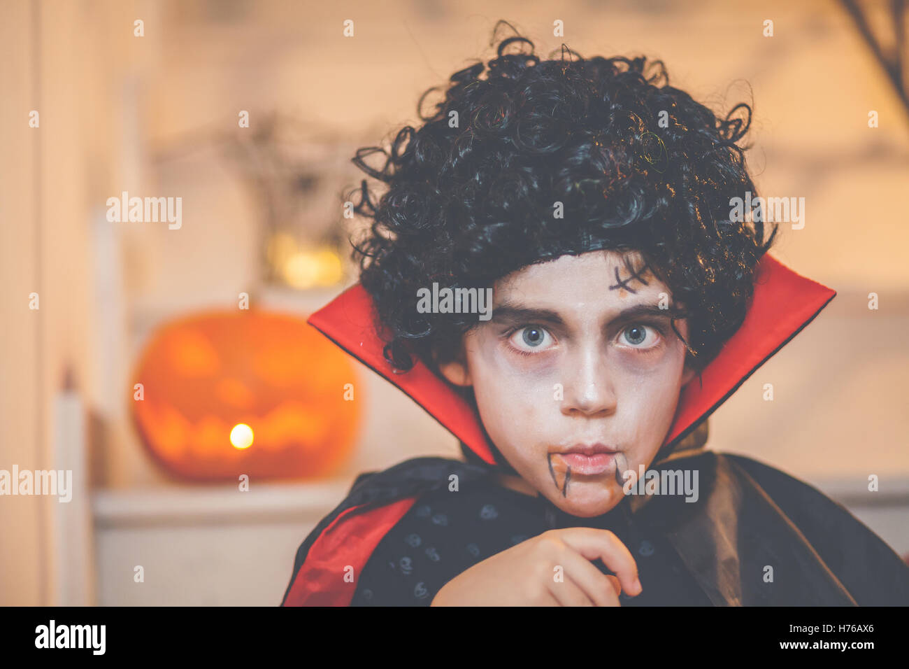 Portrait of a boy wearing a halloween dracula costume Stock Photo