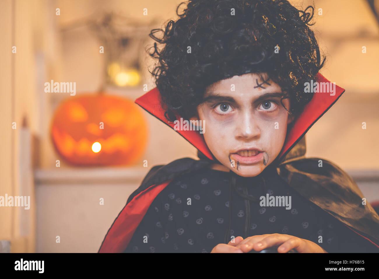 Portrait of a boy wearing a halloween dracula costume Stock Photo