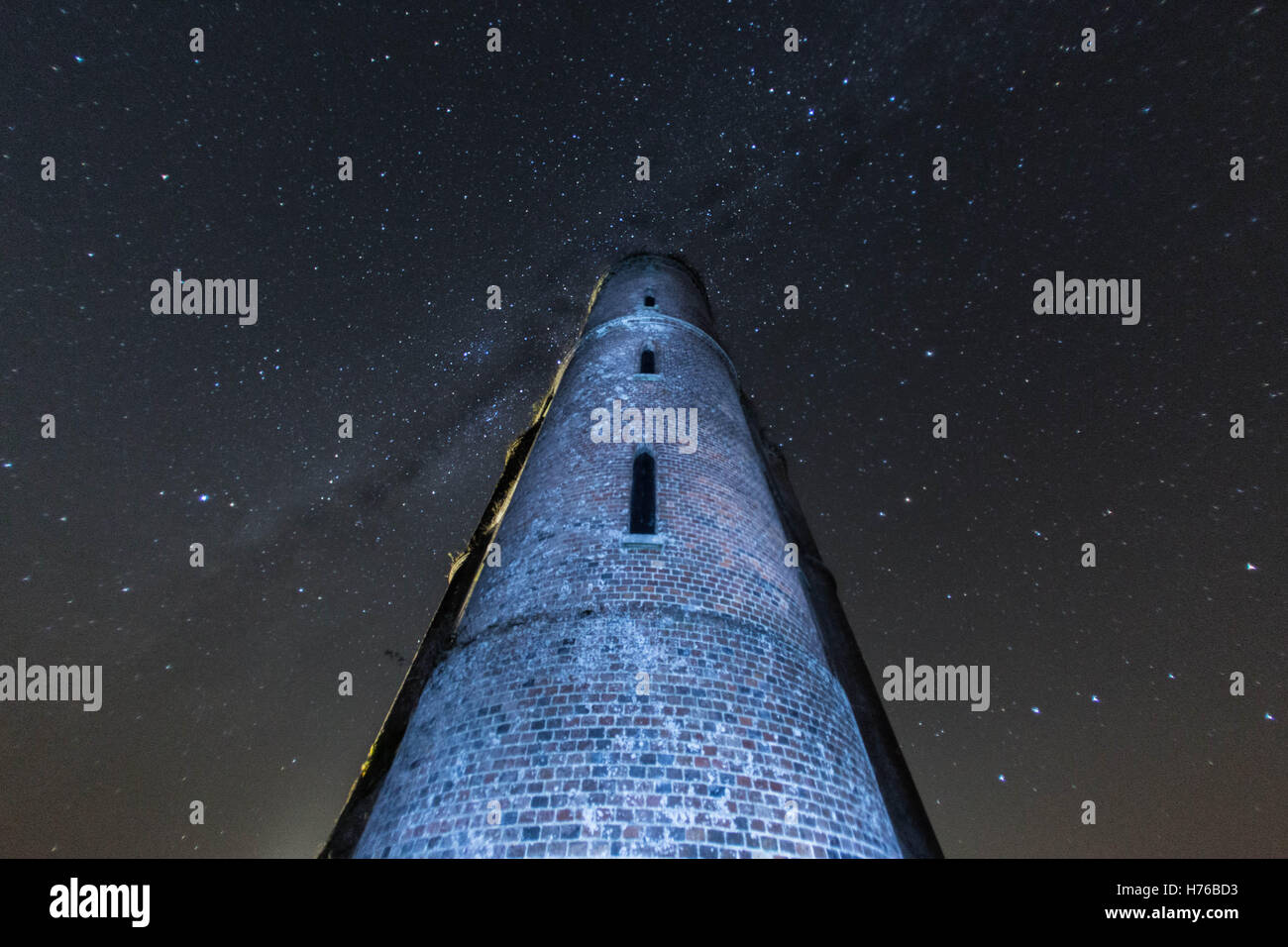 Astro photography at Horton Tower, Dorset, searching for the Northern Lights - Stock Image