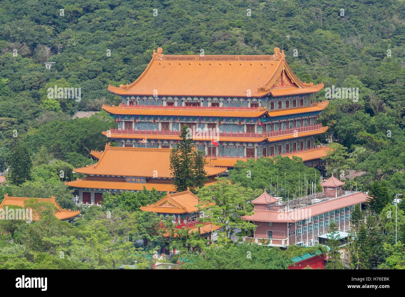 Po Lin Monastery in Lantau island, Hongkong - Stock Image