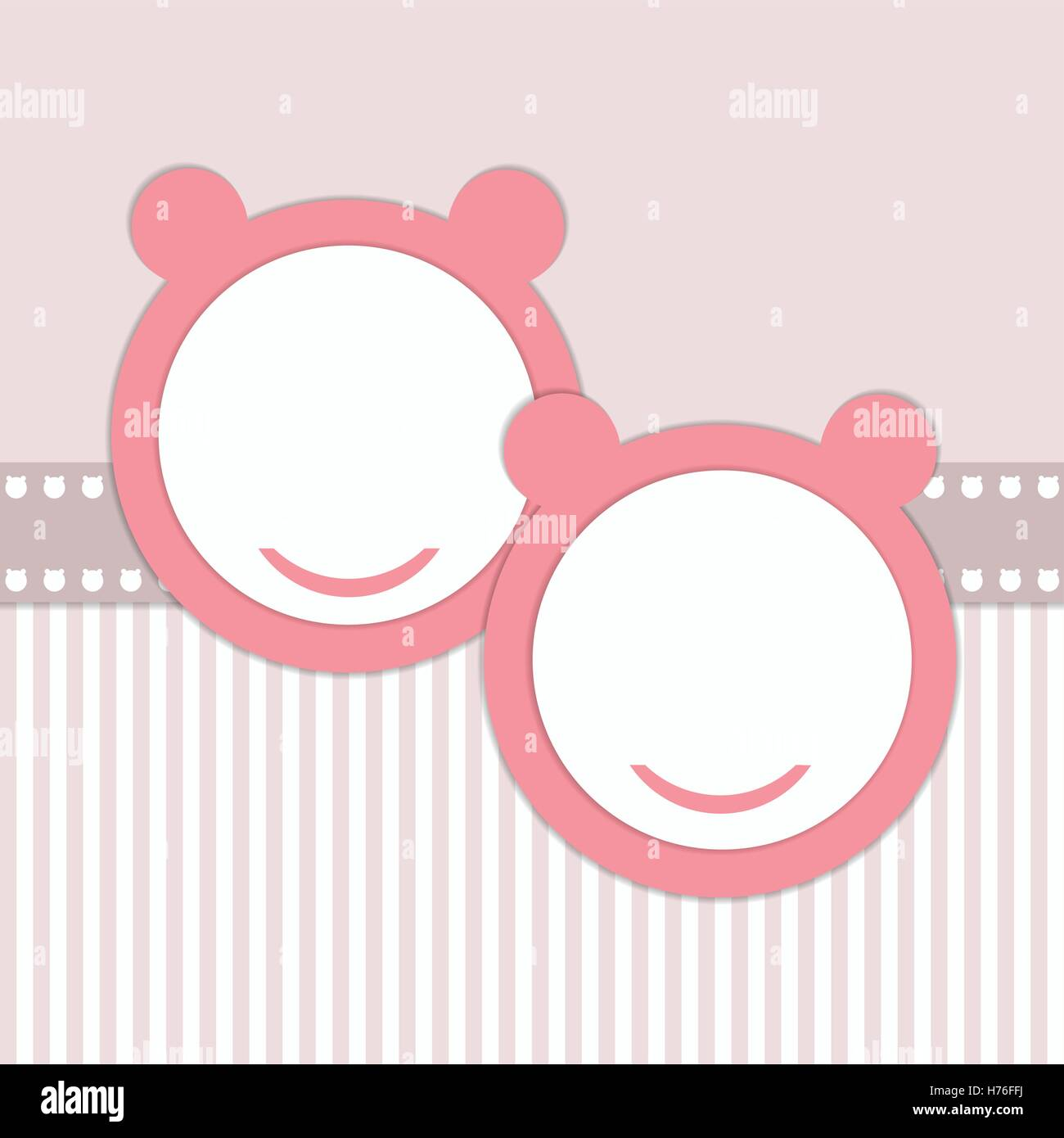 Baby Shower Invitation Card - Twins Girls - Stock Vector