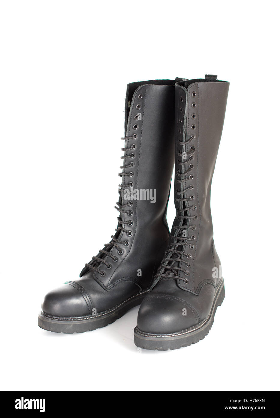 514fea9099d0 New tall lace-up knee-high black leather boots featuring 20 eyelets and  steel-toes. Fashion combat work boots worn by both men