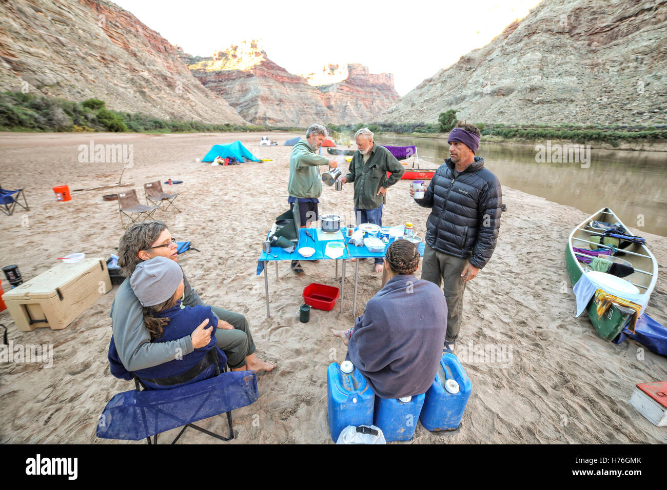 A colorful river trip kitchen on the Colorado River at the confluence of the Green River in Canyonland National - Stock Image