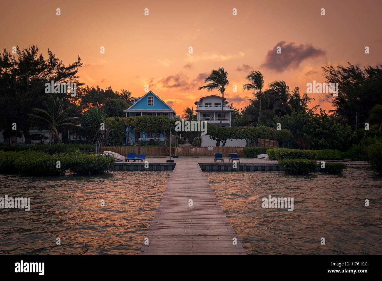 Dockside Sunset in Belize - Stock Image