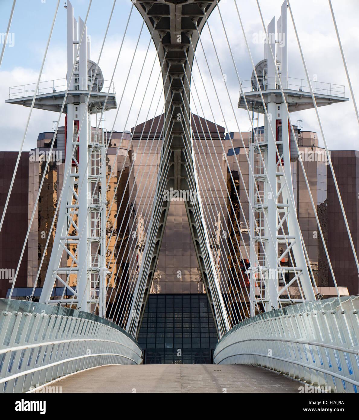 Salford Quays Millennium Lift Bridge - Stock Image
