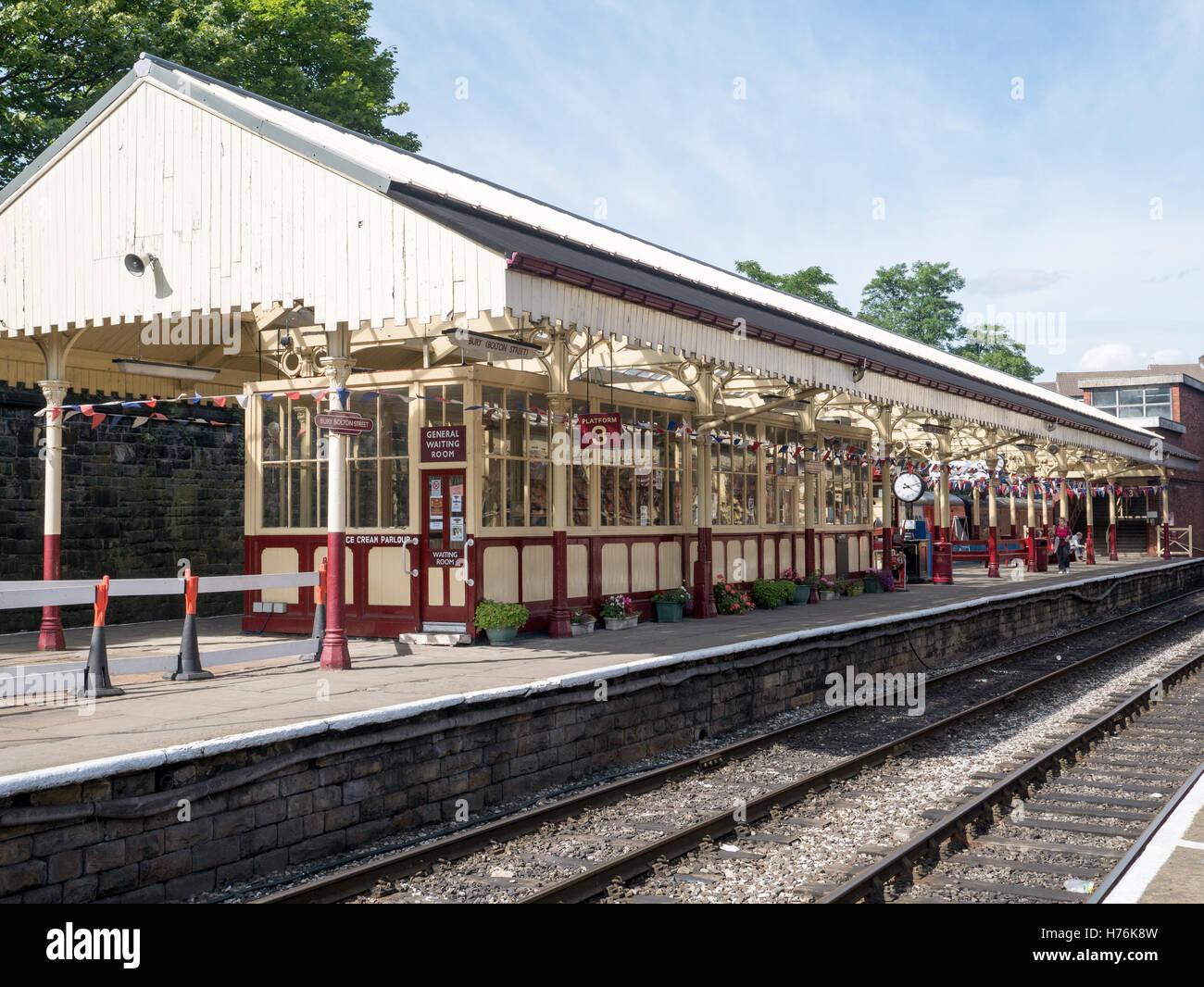 Classic railway station at Bolton Street, Bury, Lancashire - Stock Image