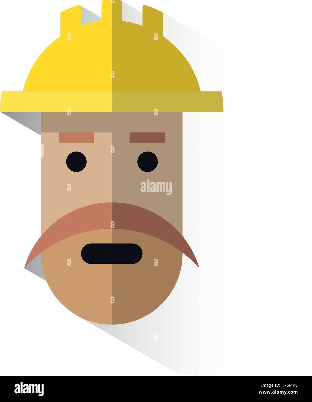worker's face icon with helmet - Stock Vector