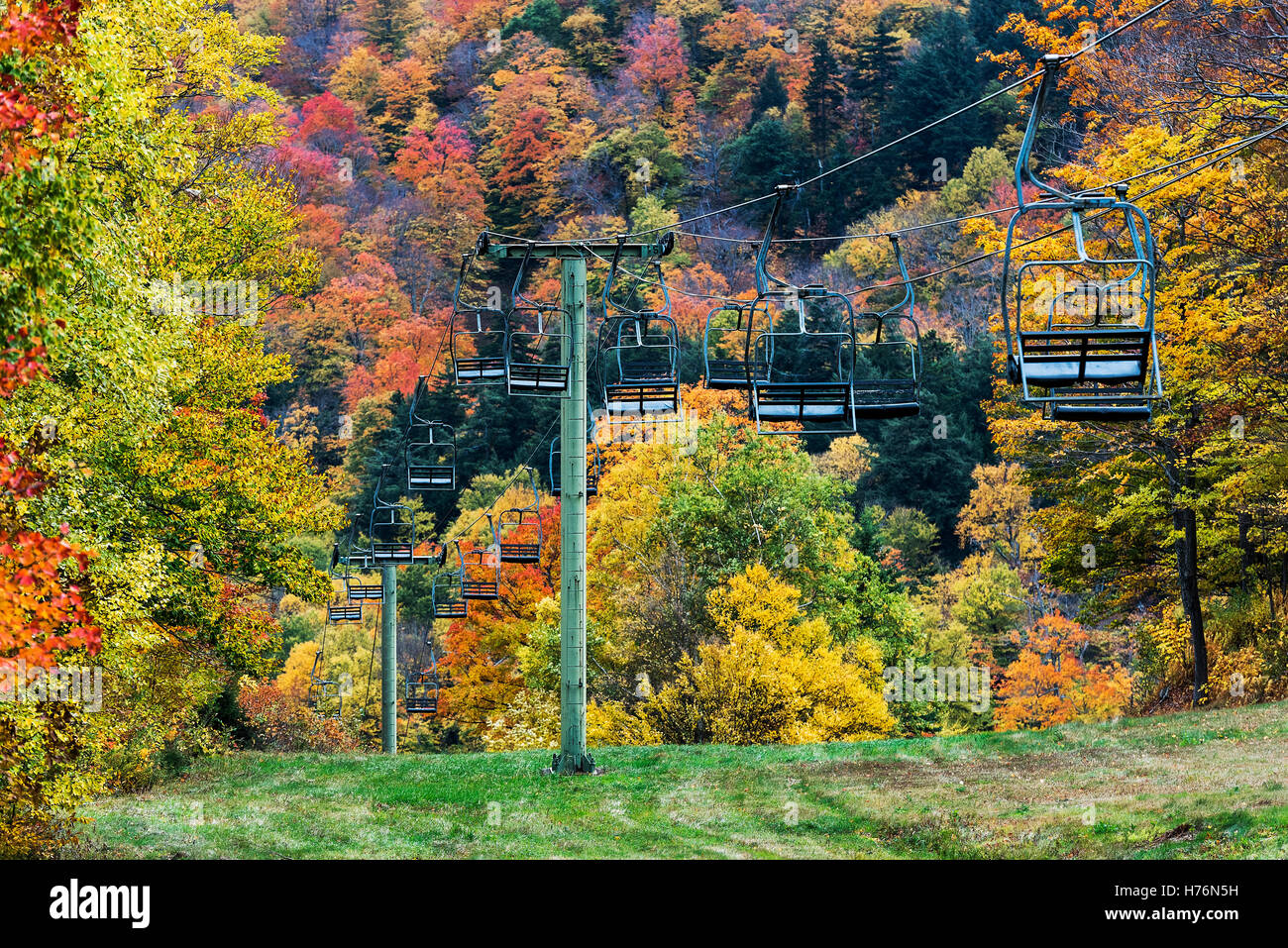 Mad River Glen Ski Resort in autumn, Vermont, USA. - Stock Image