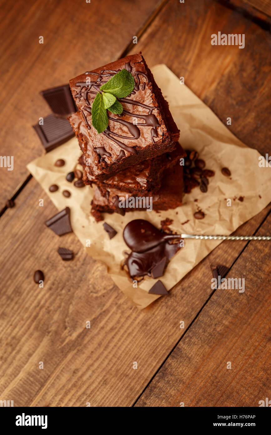 Plate with delicious chocolate brownies - Stock Image