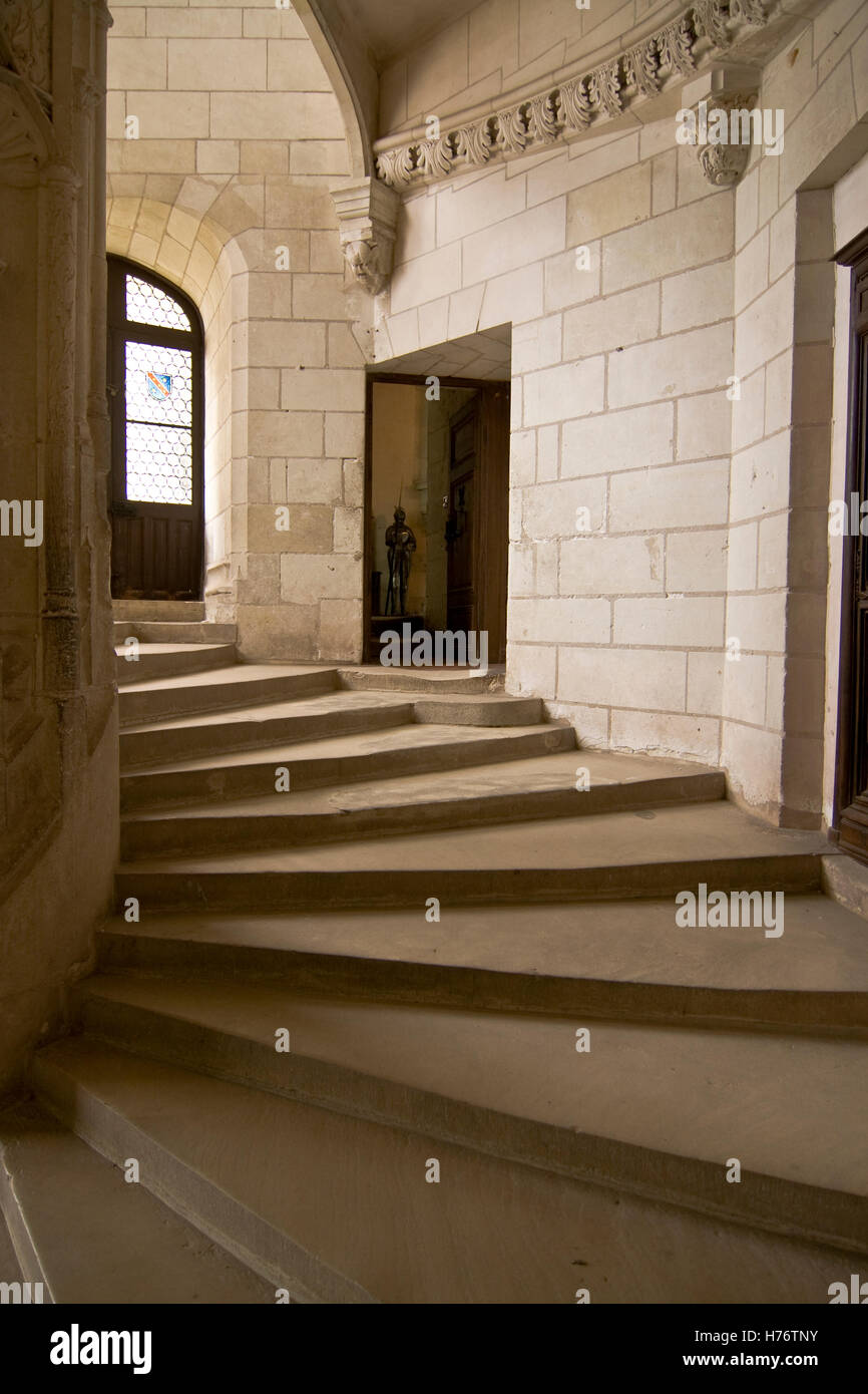 Wendeltreppe im Schloss Chaumont; (hochformat) circular staircase in Chaumont-castle (portrait format) - Stock Image