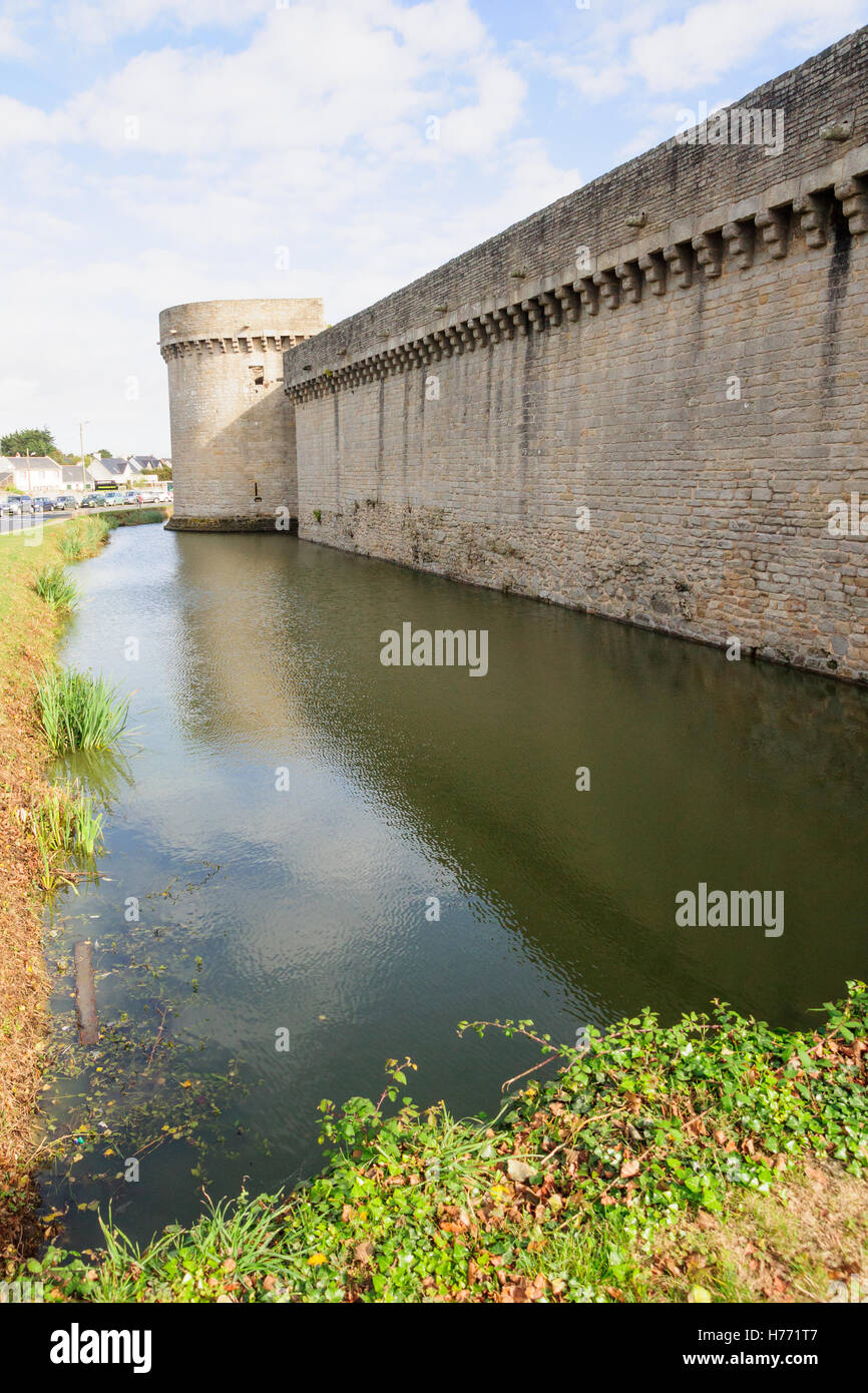 The walls and a canal (moat) of Guerande, Loire-Atlantique, France Stock Photo