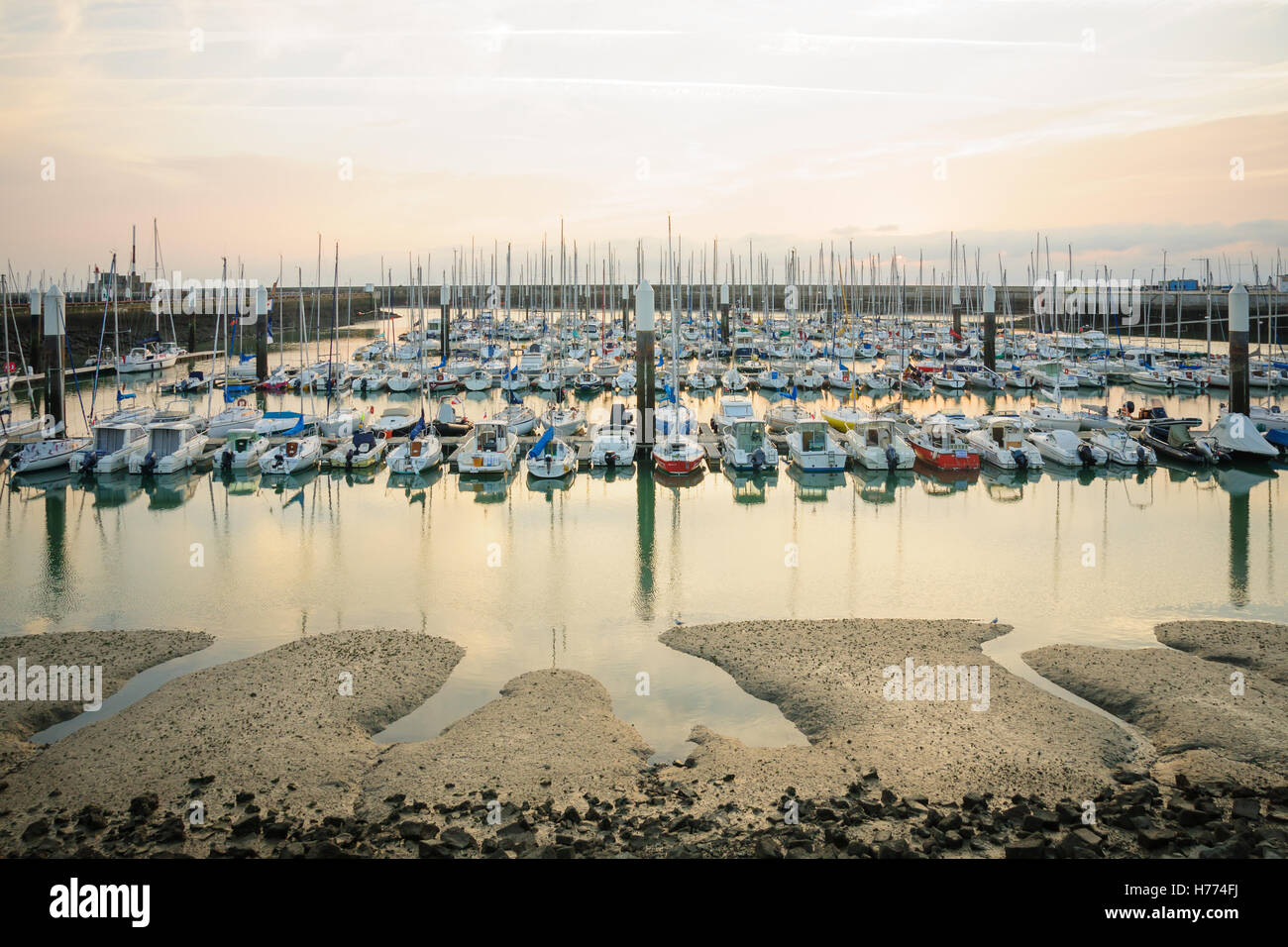 LE HAVRE, FRANCE - SEPTEMBER 16, 2012: Sunset view of the marina, in Le Havre, Normandy, France - Stock Image