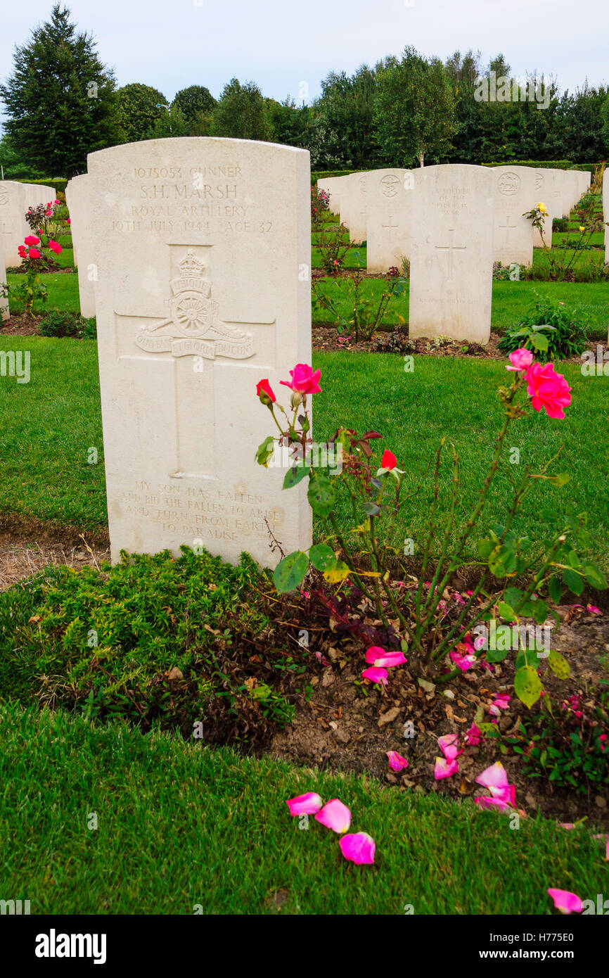BAYEUX, FRANCE - SEPTEMBER 20, 2012: The memorial and WWII cemetery in Bayeux, Normandy, France. Stock Photo