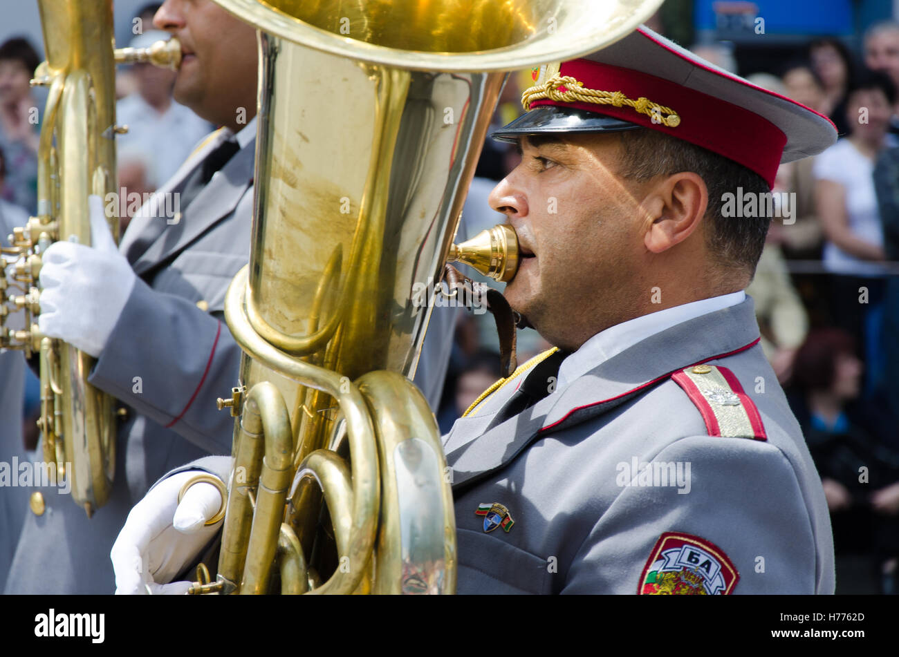 Brass band at yearly rose festival in Kazanlak, Bulgaria, wearing bulgarian army uniforms - Stock Image