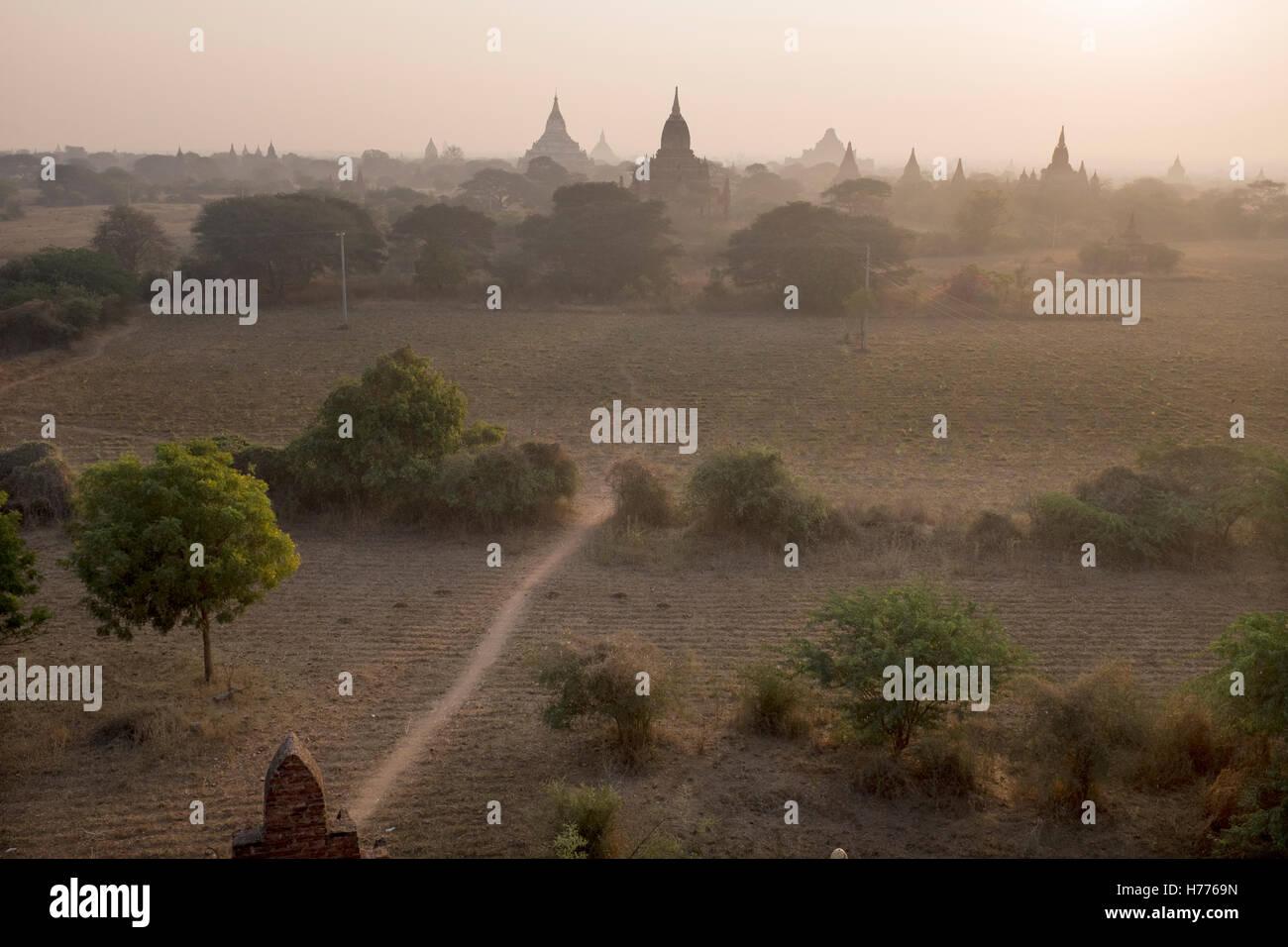 Temples at Dawn in Bagan Myanmar Stock Photo