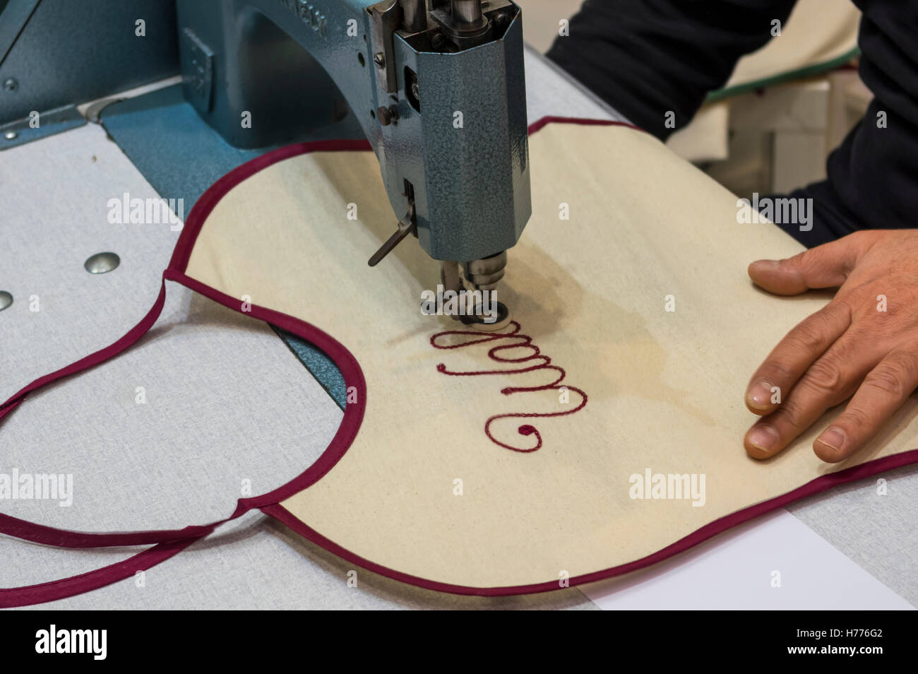 Embroidery Of A Name In Script Typeface Using A Stitching Machine