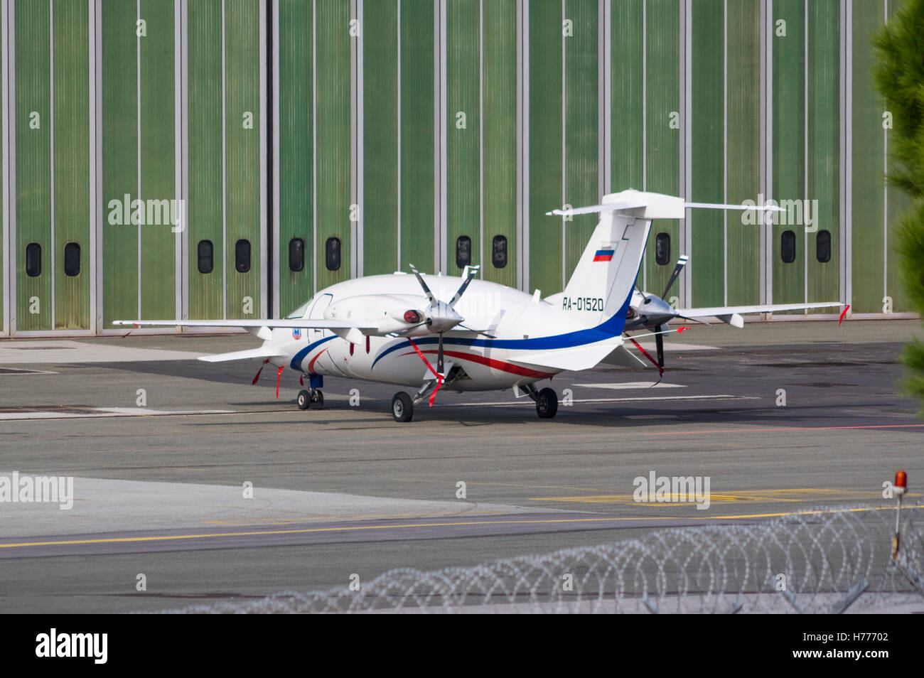 Piaggio P.180 Avanti II, an Italian business executive aircraft with twin turboprop engines mounted in pusher configuration. - Stock Image