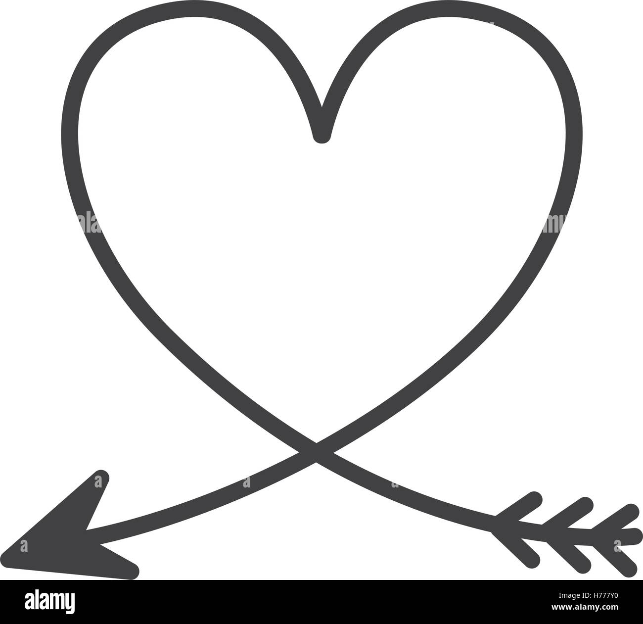 silhouette of heart with arrow vector illustration stock. Black Bedroom Furniture Sets. Home Design Ideas
