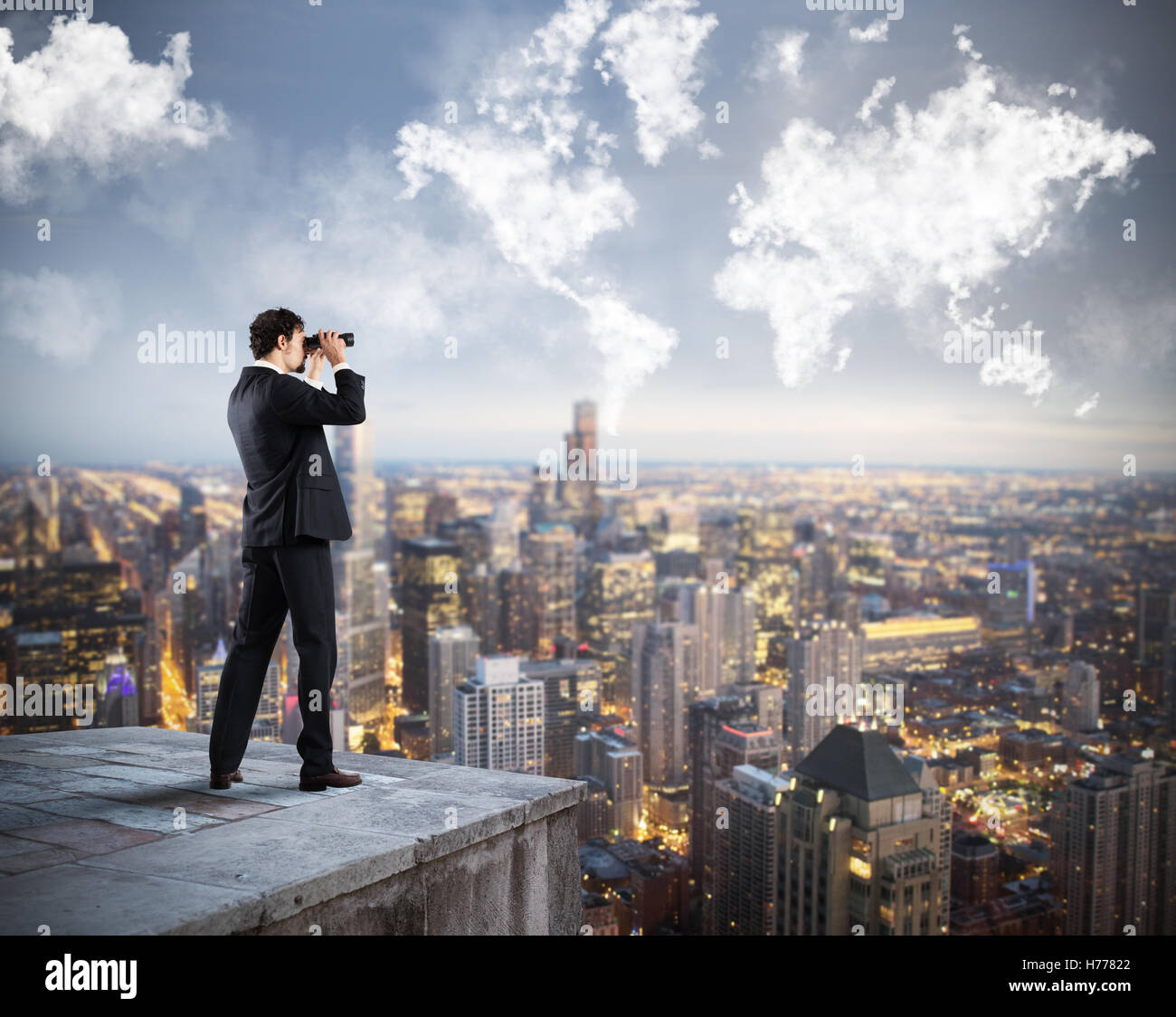 Businessman looking to the future - Stock Image