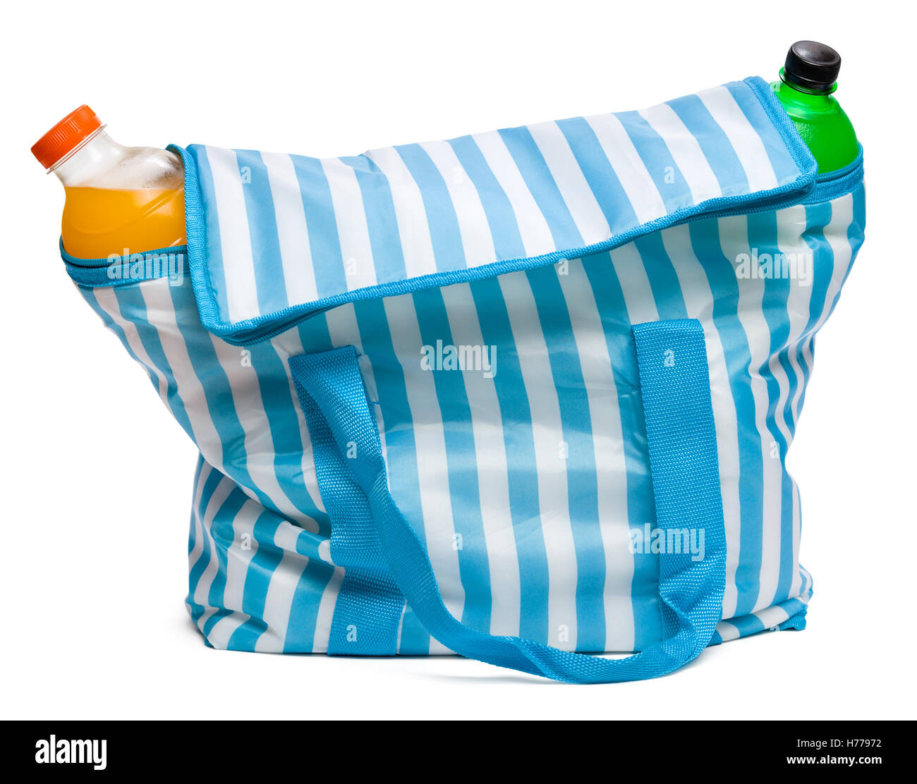 Closed standing blue striped cooler bag with full of cool refreshing drinks - Stock Image