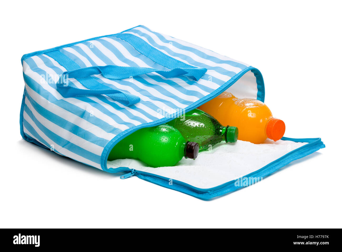 Open lying blue striped cooler bag with three bottle of cool refreshing drinks - Stock Image