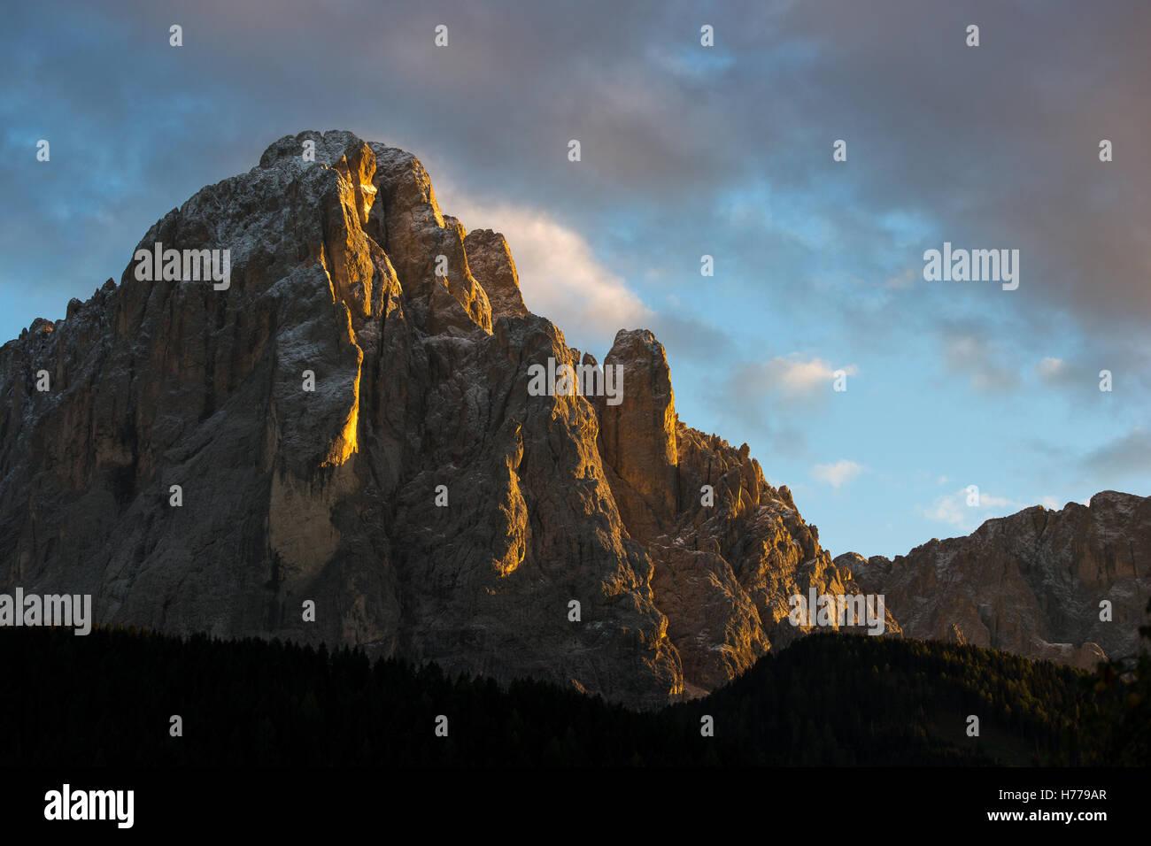 Dolomite mountains at sunset, Val Gardena, South Tyrol, Italy Stock Photo