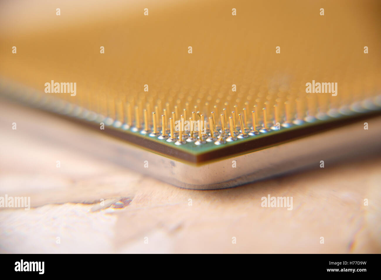 Macro shot of damaged central processing unit CPU - Stock Image