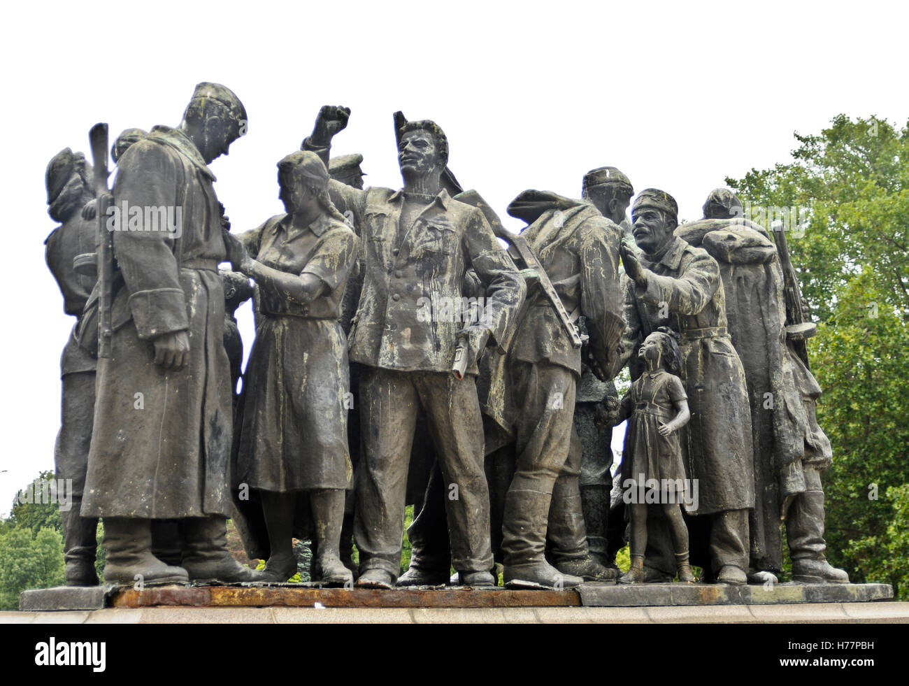 Monument to the Soviet Army. Sofia, Bulgaria. Secondary sculptural composition. Stock Photo