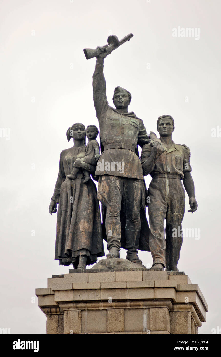 Monument to the Soviet Army. Sofia, Bulgaria. Soldier from the Soviet Army surrounded by a Bulgarian family Stock Photo