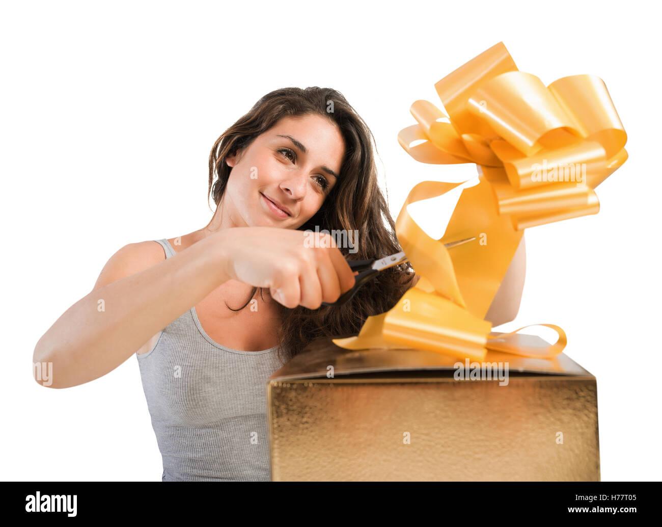 Prepare xmas gifts - Stock Image