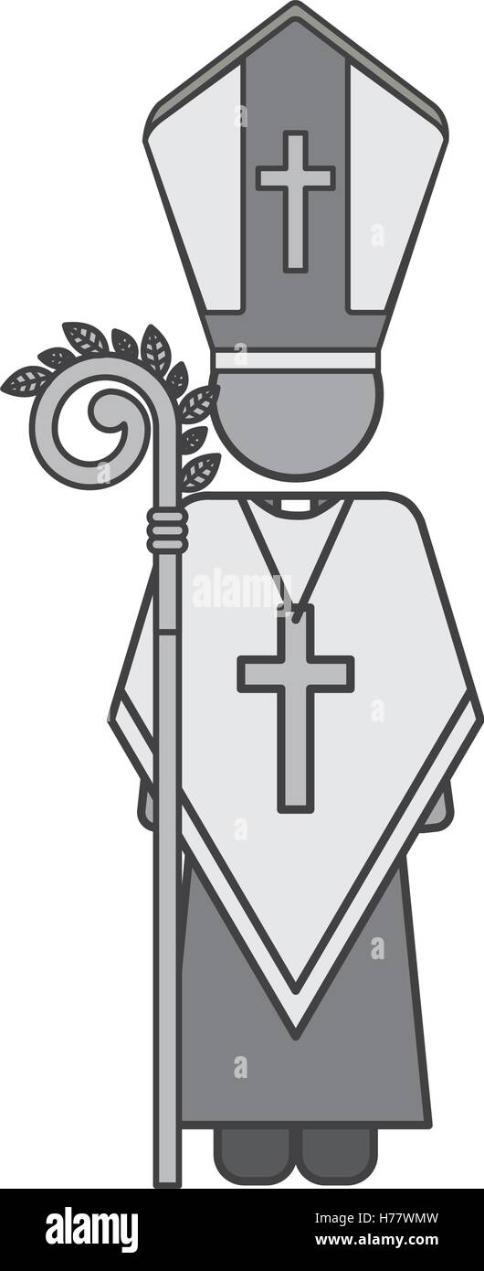 Priest Or Reverend Man With Christian Catholic Religious Icons Over