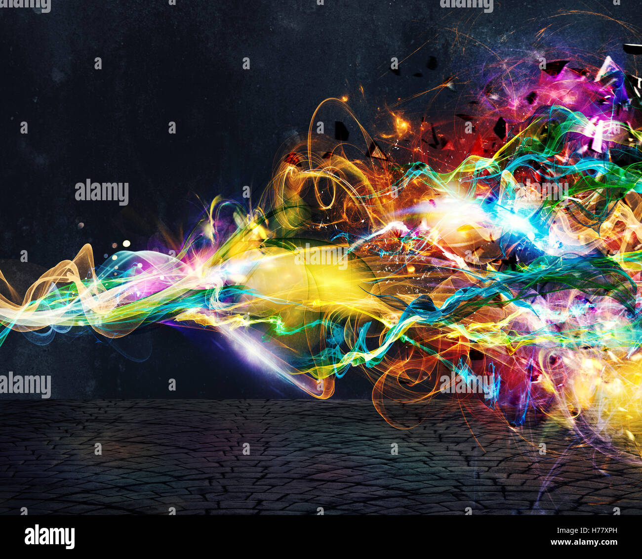 Modern abstract motion banner on dark background - Stock Image