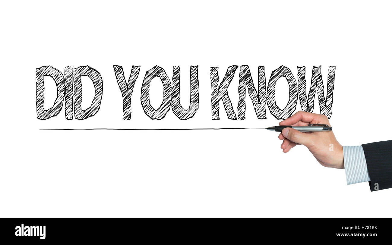 did you know written by hand, hand writing on transparent board, photo Stock Photo