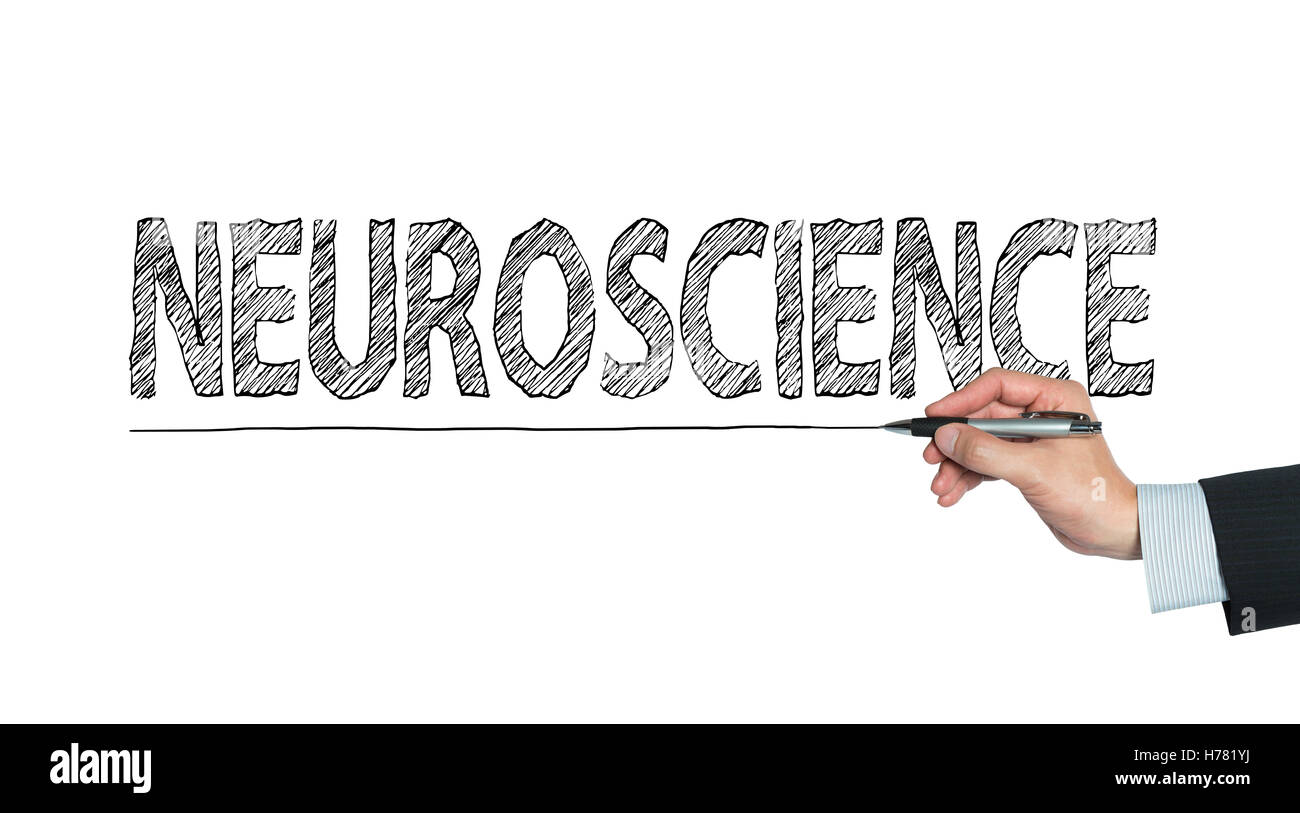 neuroscience written by hand, hand writing on transparent board, photo - Stock Image