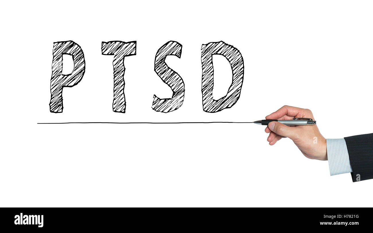 PTSD written by hand, hand writing on transparent board, photo - Stock Image