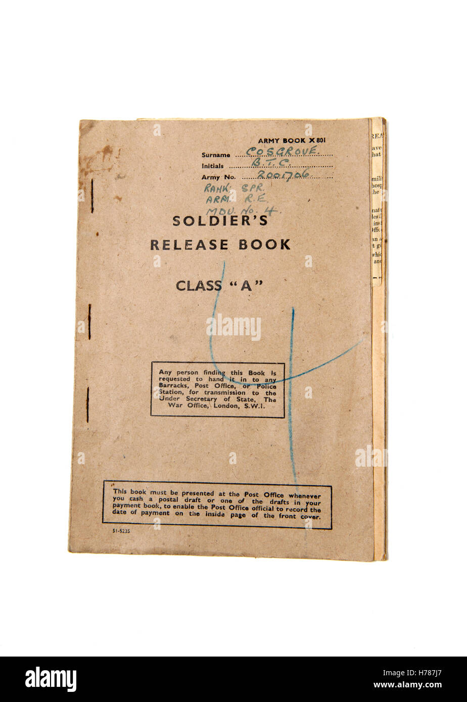 Soldiers Class Soldiers release book from 1945 - Stock Image