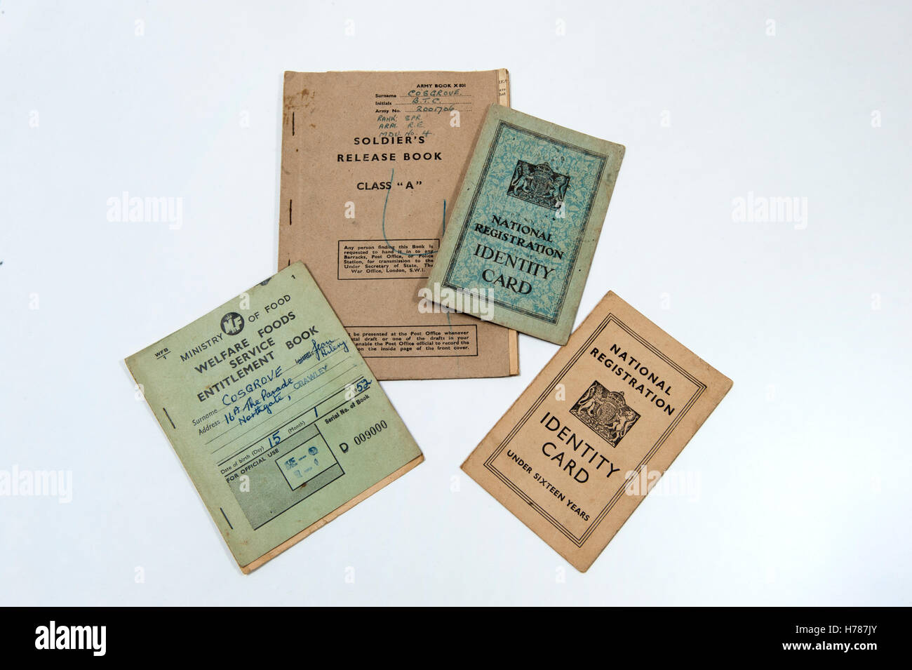 A selection of identity cards and ration books from UK in 1940 - 1950s - Stock Image
