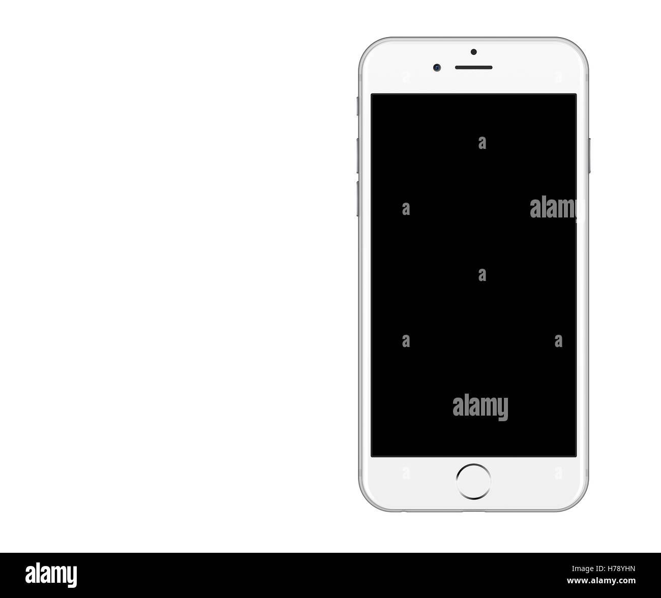 White smartphone isolated on white background - Stock Image