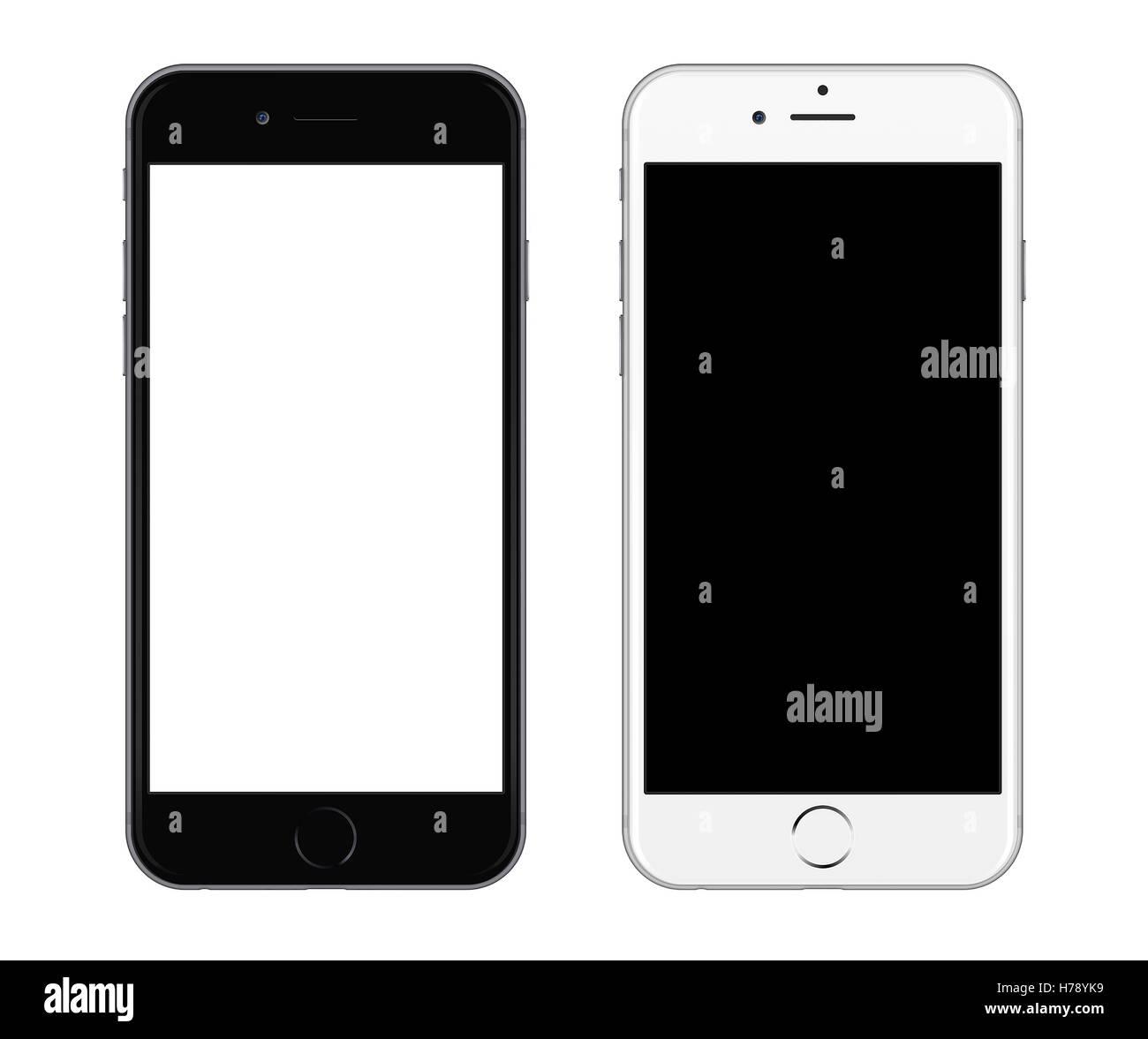 Black smartphone near white smartphone isolated on white background - Stock Image