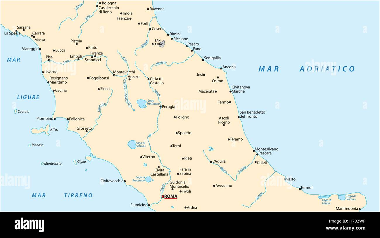 Simple Map Of Italy.Simple Outline Vector Map Of Central Italy Stock Vector Art