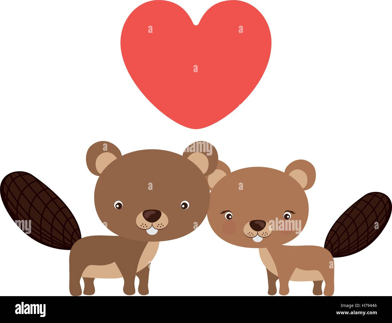 little couple of animals concept about cute beaver in love design