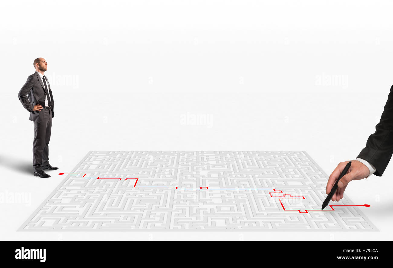 3D Rendering solution for the maze - Stock Image