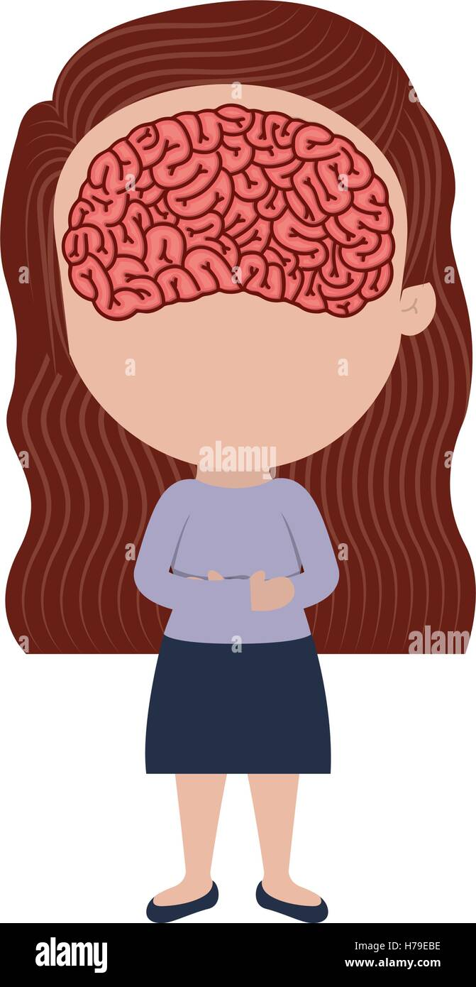 avatar female woman cartoon with human brain in her face over white ...